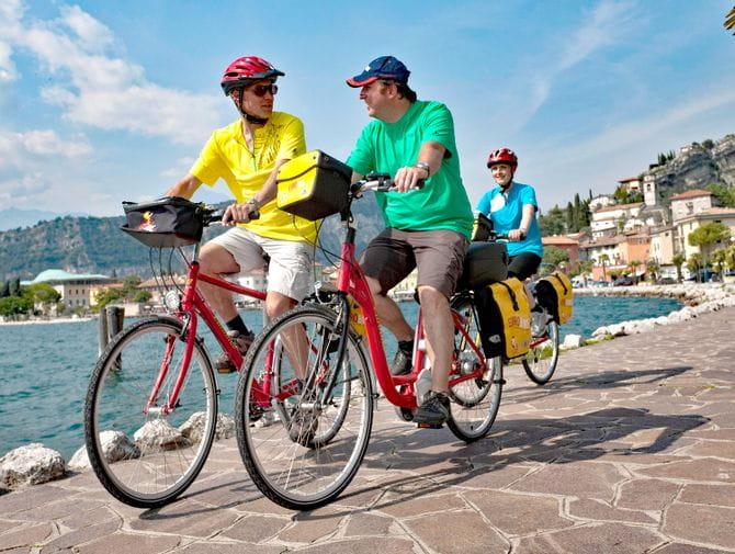 Radfahrer auf der radreise Bozen - Venedig