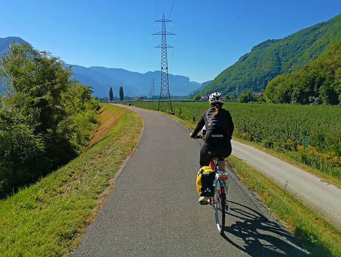 Cyclist at Adige Cycle Path